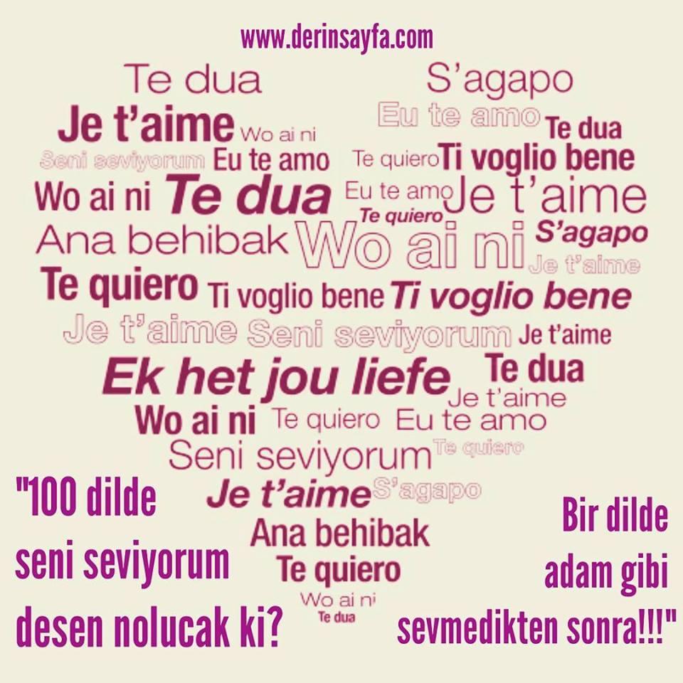 100 Dilde Seni Seviyorum Sözleri